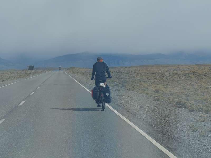 Radfahrer in Patagonien