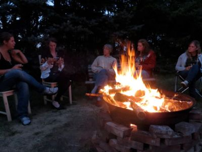 Camp fire ranch in Manitoba Canada