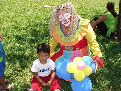 Clown plays with kid in Costa Rica