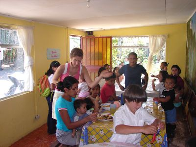 Playing with children in Costa Rica
