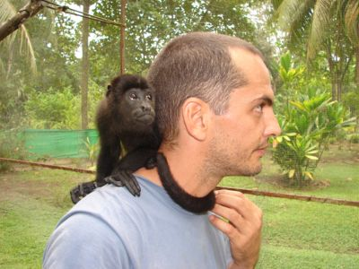Volunteer with monkey Costa Rica