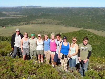 Group of volunteer on ridge in South Africa