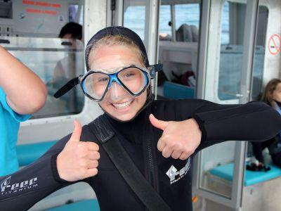 Female shark diver South Africa