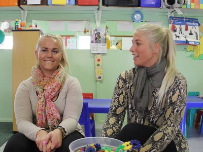 Two blond female volunteers in South Africa