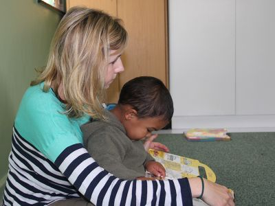 Child care South Africa Volunteer with kid