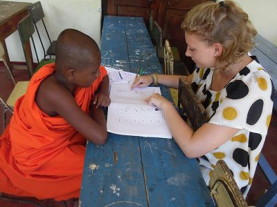 Young monk with teacher Sri Lanka