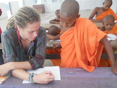 Monk applicant with volunteer teacher