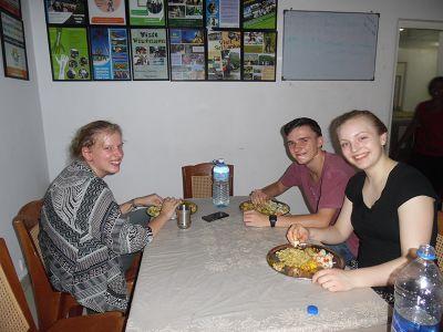 Volunteers dining in Sri Lanka
