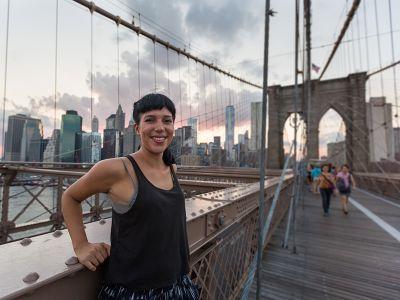 Intern on Brooklyn Bridge New York