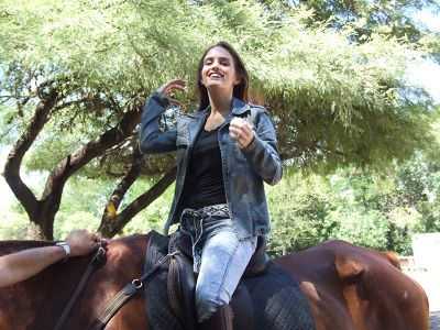 Horse riding during farmstay in the US