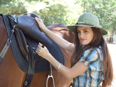 Saddling a horse in the US